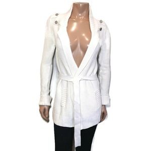 CALVIN KLEIN Belted Cardigan Knit Sweater Collared